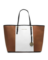 MICHAEL Michael Kors Medium Jet Set Center-Stripe Travel Tote - LUGGAGE/WHT/BLK - 30T4GJTT2L