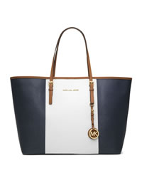 MICHAEL Michael Kors Medium Jet Set Center-Stripe Travel Tote - NAVY/WHT/LUGGAGE - 30T4GJTT2L