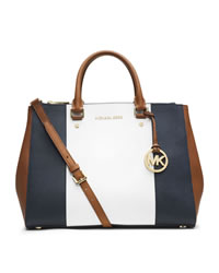 MICHAEL Michael Kors Medium Jet Set Center-Stripe Dressy Tote - NVY/WHT/LUGGAGE - 30T4GJTS7L
