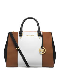 MICHAEL Michael Kors Large Jet Set Center-Stripe Travel Tote - LUGGAGE/WHT/BLK - 30T4GJTS7L