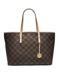MICHAEL Michael Kors Medium Jet Set Multifunction Logo Travel Tote - BROWN/NEUTRAL - 30T4GTVT6I