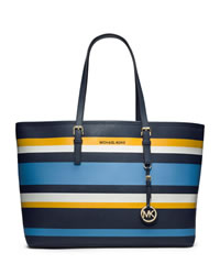 MICHAEL Michael Kors Medium Jet Set Multifunction Saffiano Travel Tote - NAVY MULTI - 30T4GVST6R