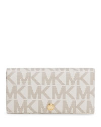 MICHAEL Michael Kors Large Signature Slim Wallet - VANILLA/LUGGAGE - 32H3GLSE3B