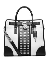 MICHAEL Michael Kors Hamilton Center-Stripe Studded Tote - BLACK/WHITE - 30T4SHET3L