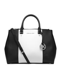 MICHAEL Michael Kors Large Jet Set Center-Stripe Travel Tote - OPTIC WHITE/BLACK - 30T4SJTS7T
