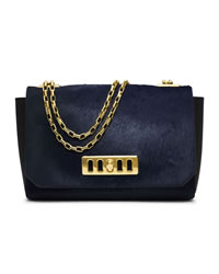Michael Kors Vivian Calf-Hair Shoulder Flap Bag - NAVY - 31T4GVVF3H