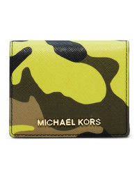MICHAEL Michael Kors Jet Set Camo Travel Flap Card Holder - ACID LEMON - 32F4GTVF2R
