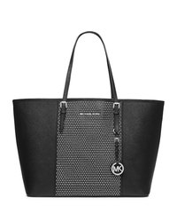 MICHAEL Michael Kors Medium Jet Set Studded Travel Tote - BLACK - 30F4SJDT2L