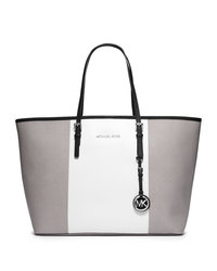 MICHAEL Michael Kors Medium Jet Set Center-Stripe Travel Tote - PGRY/WHT/BLK - 30F4SJTT2L
