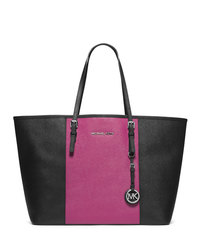 MICHAEL Michael Kors Medium Jet Set Travel Striped Multifunction Tote - BLK/DEEP PINK - 30T4SJTT2T