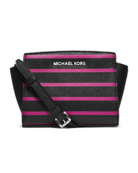 MICHAEL Michael Kors Mini Selma Striped Messenger - BLK/DEEP PINK - 32F4SLRC1R