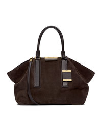 Michael Kors Large Lexi Suede Satchel - CHOCOLATE - 31F4GLXS3S