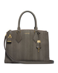 Michael Kors Large Casey Sueded Snake Satchel - ELEPHANT - 31F4MCYS3Z