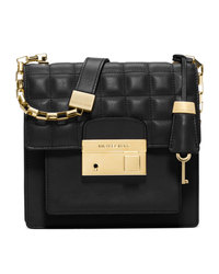 Michael Kors Small Gia Quilted Crossbody - BLACK - 31F4GGAX2L