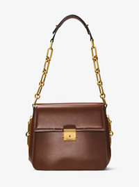 Mia French Calf Leather Shoulder Bag - NUTMEG - 31F6BMAL8L