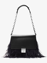 Mia French Calf and Feather Shoulder Bag - BLACK - 31F6MMAL2F