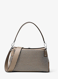 Miranda Medium Studded Leather Shoulder Bag - DARK TAUPE - 31F6PMDL5D