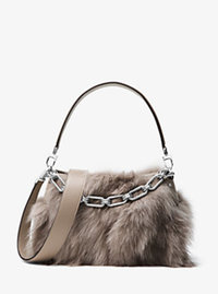 Miranda Medium Fox Fur and Leather Shoulder Bag - DARK TAUPE - 31F6PMDL6F
