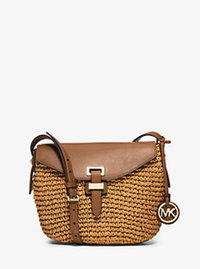 Naomi Medium Woven Straw Crossbody - WALNUT - 30H5GS2M2W