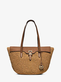 Naomi Large Woven Straw Tote - WALNUT - 30H5GS2T3W