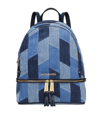 Rhea Medium Mosaic Patchwork Denim Backpack - MULTI BLUE - 30S6GEZB1C