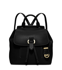 Romy Medium Leather Backpack - BLACK - 30S6GRUB2L