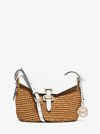 Naomi Medium Straw Crossbody - OPTIC WHITE - 30S6GS2M2W