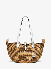 Naomi Large Straw Tote - OPTIC WHITE - 30S6GS2T3W