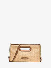 Rosalie Large Raffia Clutch - WALNUT - 30S6GS4C3M
