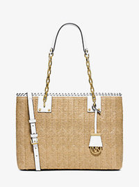Rosalie Large Raffia Tote - OPTIC WHITE - 30S6GS4T7W