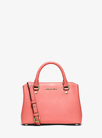 Savannah Small Patent Saffiano Leather Satchel - PINK GRAPEFRUIT - 30S6GS7S1A