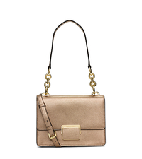 Cynthia Small Metallic-Leather Shoulder Bag - PALE GOLD - 30S6MCYL1M