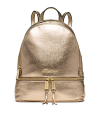 Rhea Medium Metallic-Leather Backpack - PALE GOLD - 30S6MEZB1M