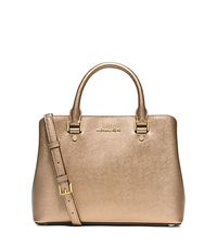 Savannah Medium Metallic Saffiano Leather Satchel - PALE GOLD - 30S6MS7S2M