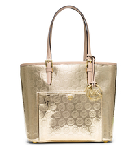Jet Set Travel Medium Metallic Leather Tote - PALE GOLD - 30S6MTTT2Z