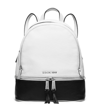Rhea Medium Color-Block Leather Backpack - WHITE/BLACK - 30S6SEZB1T
