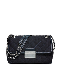Sloan Large Quilted-Denim Shoulder Bag - Dark Denim - 30S6SSLL3C