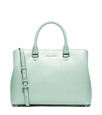 Savannah Large Patent-Leather Satchel - CELADON - 30S6SS7S3A