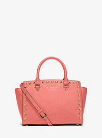 Selma Medium Studded Saffiano Leather Satchel - PINK GRAPEFRUIT - 30T3GSMS2L