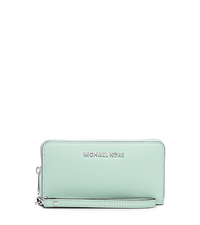 Jet Set Travel Large Saffiano Leather Smartphone Wristlet - CELADON - 32H4STVE9L