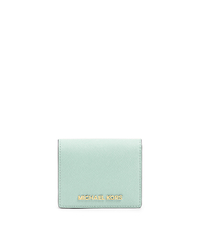 Jet Set Travel Saffiano Leather Card Holder - CELADON - 32T4GTVF2L