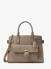 Emma Saffiano Leather Satchel - DARK DUNE - 30H6GENS2L
