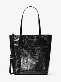Emry Large Crinkled-Leather Tote - BLACK - 30H6GE4T3A