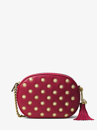 Ginny Medium Studded Leather Crossbody - CHERRY - 30H6GGNM2U