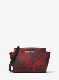 Selma Medium Lace-Print Leather Messenger - CHERRY - 30H6GL8M7T