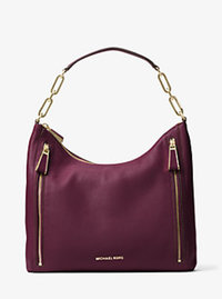 Matilda Large Leather Shoulder Bag - PLUM - 30H6GMTL3L