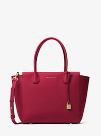 Mercer Large Leather Satchel - CHERRY - 30H6GM9S3L