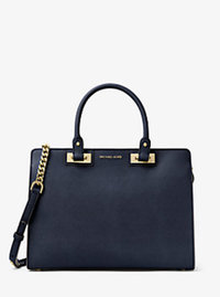 Quinn Large Saffiano Leather Satchel - NAVY - 30H6GQNS3L