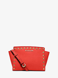 Selma Medium Studded Leather Messenger - SIENNA - 30T3GSMM2L