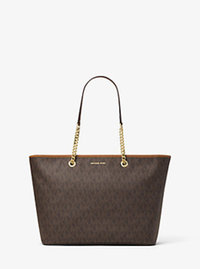Jet Set Travel Medium Logo Tote - BROWN - 30T6GJ8T2V